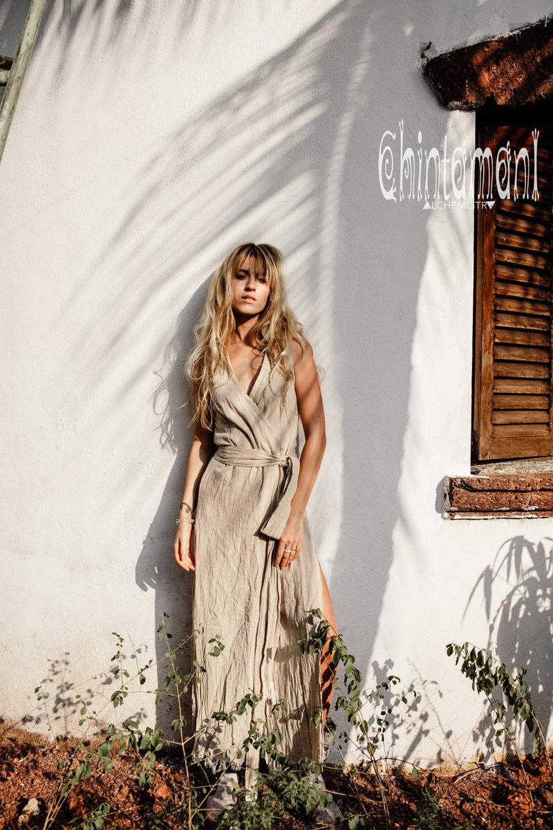 Gypsy Raw Cotton Sleeveless Long Wrap Dress / Beige - ChintamaniAlchemi