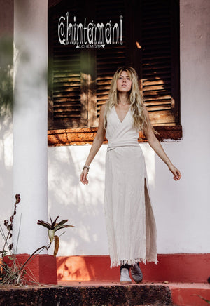 Gypsy Raw Cotton Sleeveless Long Wrap Dress / Off White - ChintamaniAlchemi