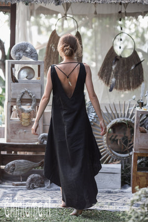 High Low Linen Maxi Dress with Open Back / Black - ChintamaniAlchemi