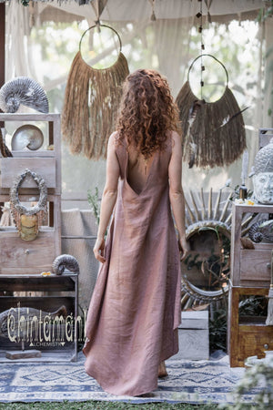 High Low Linen Maxi Dress with Open Back / Dusty Pink - ChintamaniAlchemi