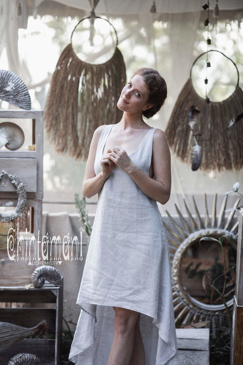 High Low Linen Maxi Dress with Open Back / Grey - ChintamaniAlchemi