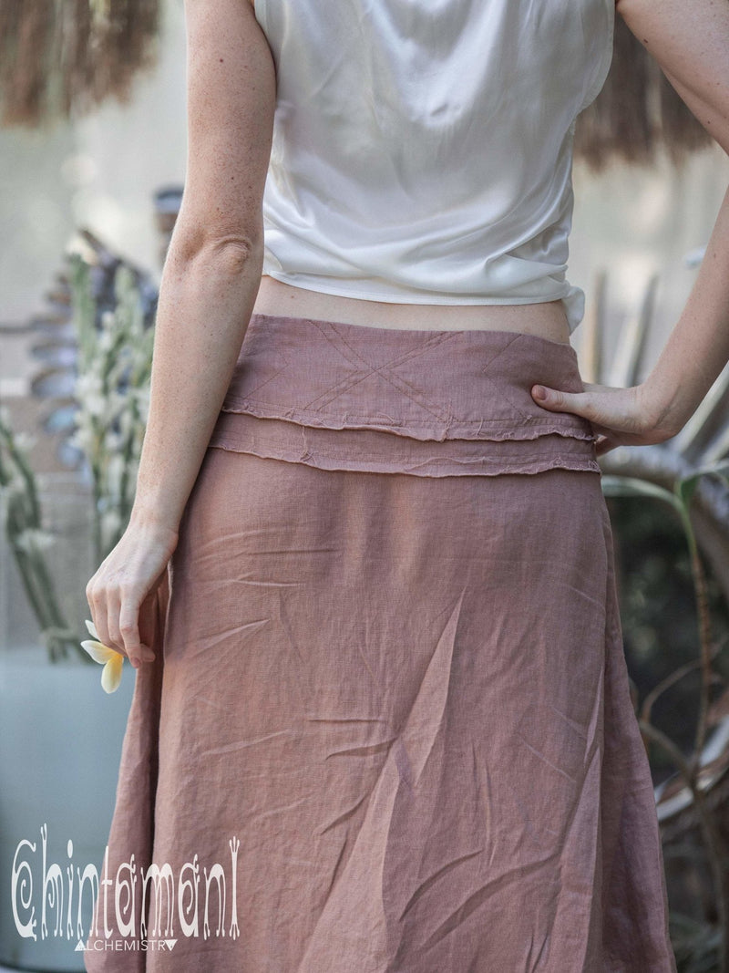 High Low Pure Linen Maxi Skirt / Dusty Pink - ChintamaniAlchemi
