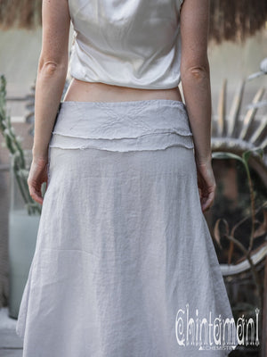 High Low Pure Linen Maxi Skirt / Grey - ChintamaniAlchemi