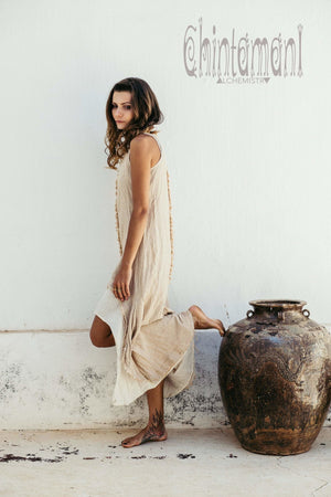 High Low Raw Cotton Long Dress with Double Layer / Aroha Tino Beige - ChintamaniAlchemi