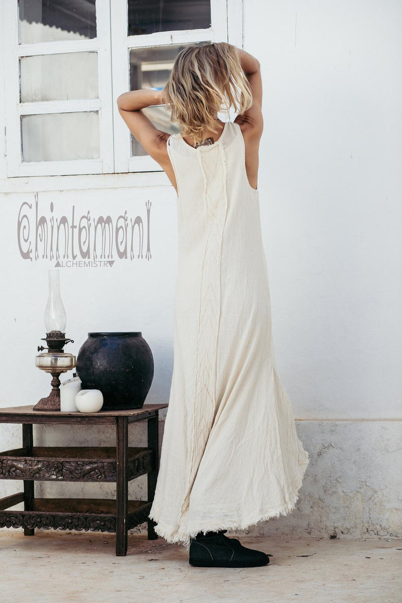 High Low Raw Cotton Long Dress with Double Layer / Aroha Tino Off White - ChintamaniAlchemi