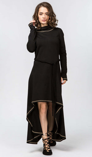High Low Warm Hooded Cotton Dress with Long Sleeves / Black - ChintamaniAlchemi