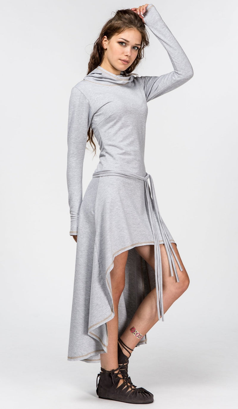 High Low Warm Hooded Cotton Dress with Long Sleeves / Grey - ChintamaniAlchemi