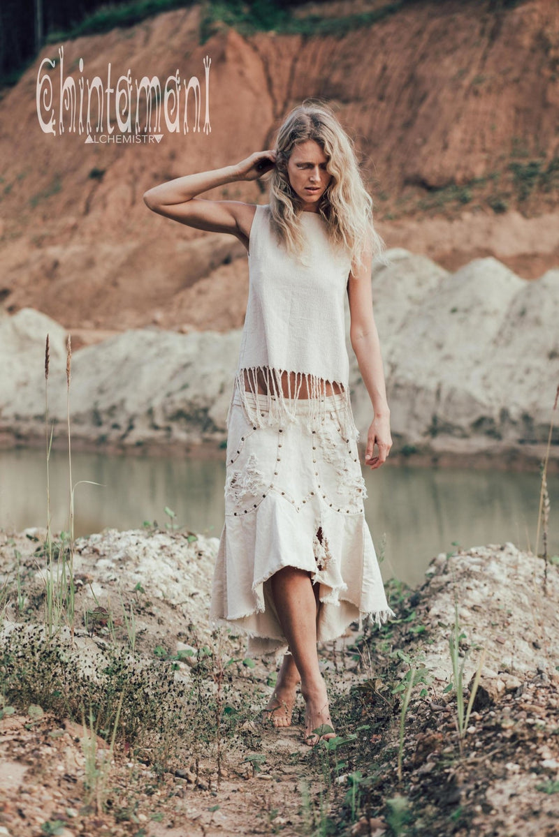 Hippie Bleached Denim Jeans Skirt, Ripped and Stonewashed / White - ChintamaniAlchemi