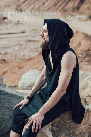 Hooded Vest Shirt for Men / Ripped Tank Top on Buttons with Huge Hood / Black - ChintamaniAlchemi
