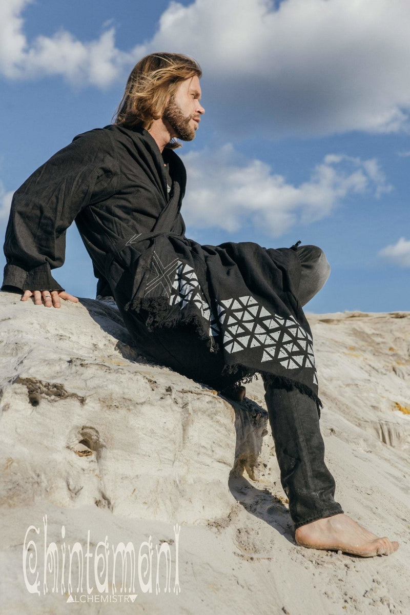 Huge Raw Cotton Mens Wrap Cardigan Coat / Kimono Cloak or Cape / Aroha Atua Black - ChintamaniAlchemi