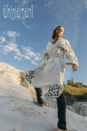 Huge Raw Cotton Mens Wrap Cardigan Coat / Kimono Cloak or Cape / Aroha Atua Off White - ChintamaniAlchemi
