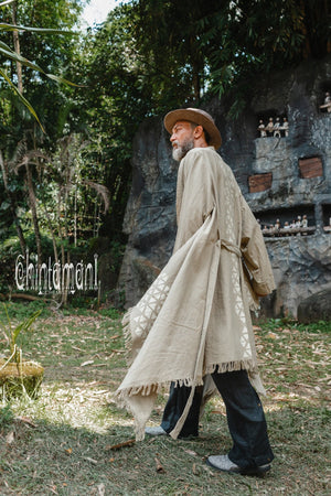 Huge Raw Cotton Mens Wrap Cardigan Coat / Kimono Cloak or Cape / Sage Green - ChintamaniAlchemi