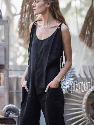 Fitted Linen Jumpsuit 3/4 / Women Midi Overalls with Pockets and Back Zip / Black