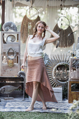 High Low Pure Linen Maxi Skirt / Dusty Pink