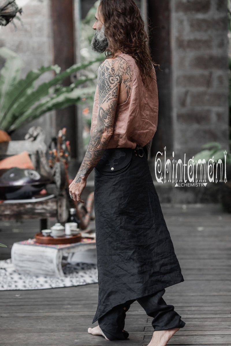 Mens Linen Wrap Pants with Skirt Overlay and Pocket Belt / Black