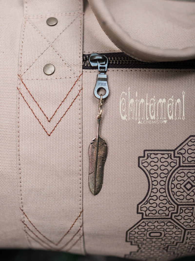 Large Cotton Canvas Travel Duffle Bag / Gym Bag / Shipibo / Beige - ChintamaniAlchemi