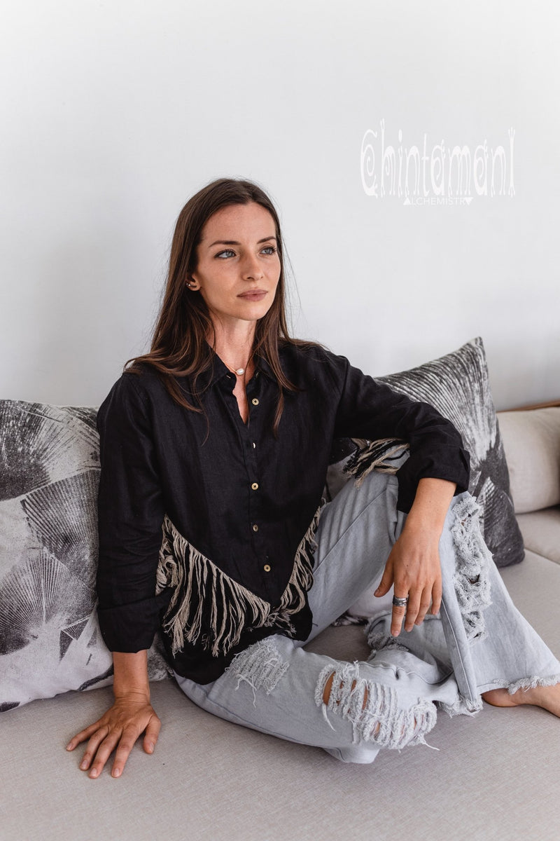 Linen Boho Button Shirt with Fringes / Black - ChintamaniAlchemi