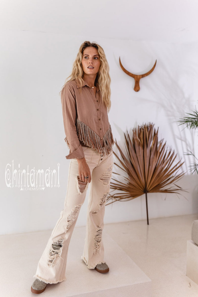 Linen Boho Button Shirt with Fringes / Dusty Pink - ChintamaniAlchemi