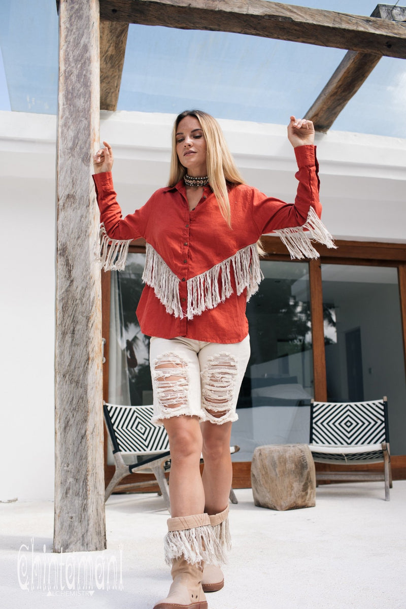 Linen Boho Button Shirt with Fringes / Red Ochre - ChintamaniAlchemi
