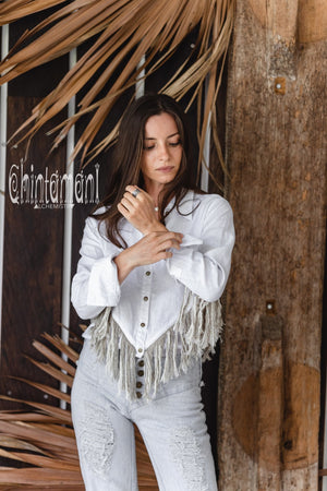 Linen Boho Button Shirt with Fringes / White - ChintamaniAlchemi