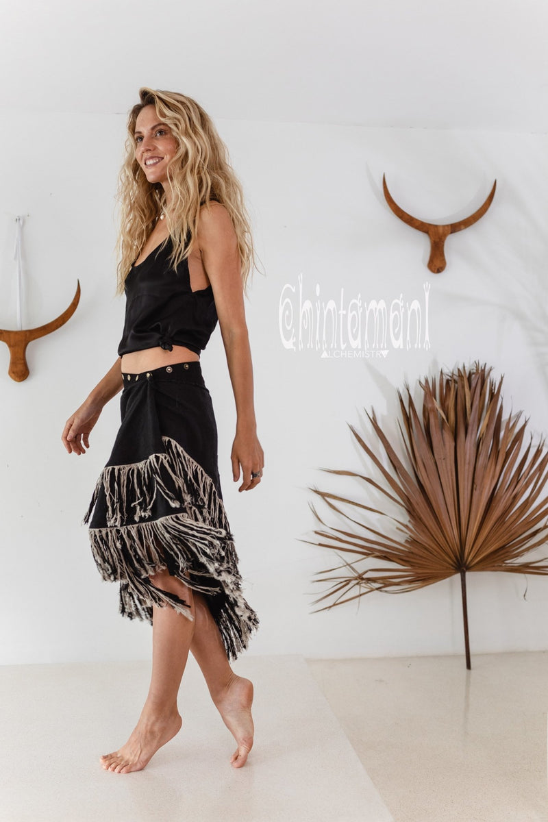 Linen Boho Wrap Skirt with Fringes / Black - ChintamaniAlchemi