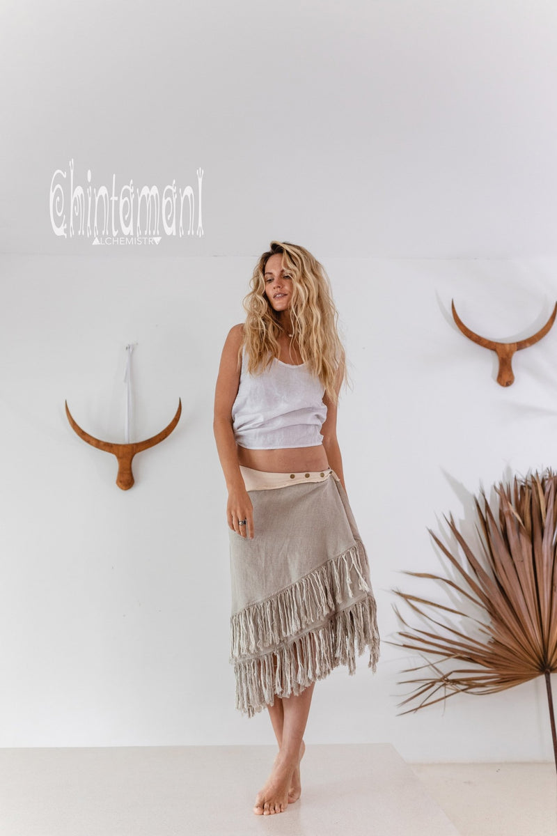 Linen Boho Wrap Skirt with Fringes / Natural Gray - ChintamaniAlchemi