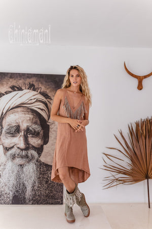 Linen Fringe Boho Dress for Women / Dusty Rose - ChintamaniAlchemi