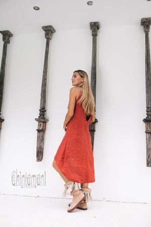 Linen Fringe Boho Dress for Women / Red Ochre - ChintamaniAlchemi