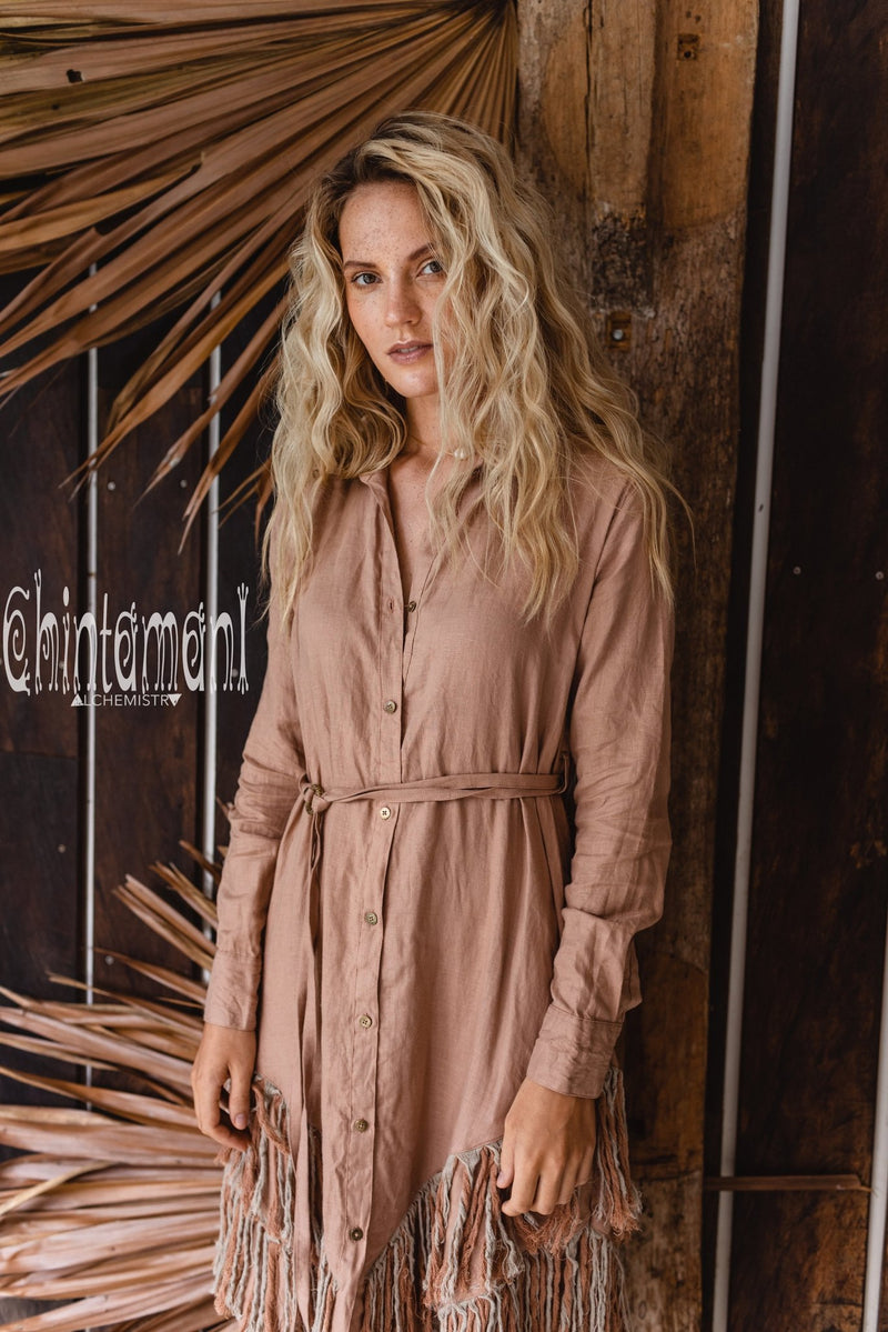 Linen Fringe Boho Shirt Dress for Women / Dusty Pink - ChintamaniAlchemi