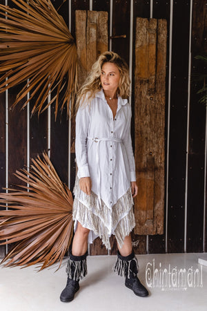 Linen Fringe Boho Shirt Dress for Women / White - ChintamaniAlchemi