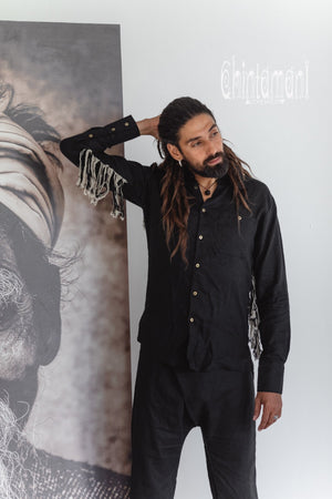 Linen Fringe Boho Shirt for Men / Alma Libra / Black - ChintamaniAlchemi