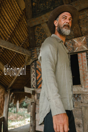 Linen Fringe Boho Shirt for Men / Alma Libra / Khaki - ChintamaniAlchemi