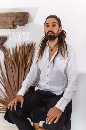 Linen Fringe Boho Shirt for Men / Alma Libra / White - ChintamaniAlchemi