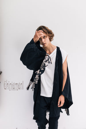 Linen Fringe Kimono Cardigan for Men / Black - ChintamaniAlchemi
