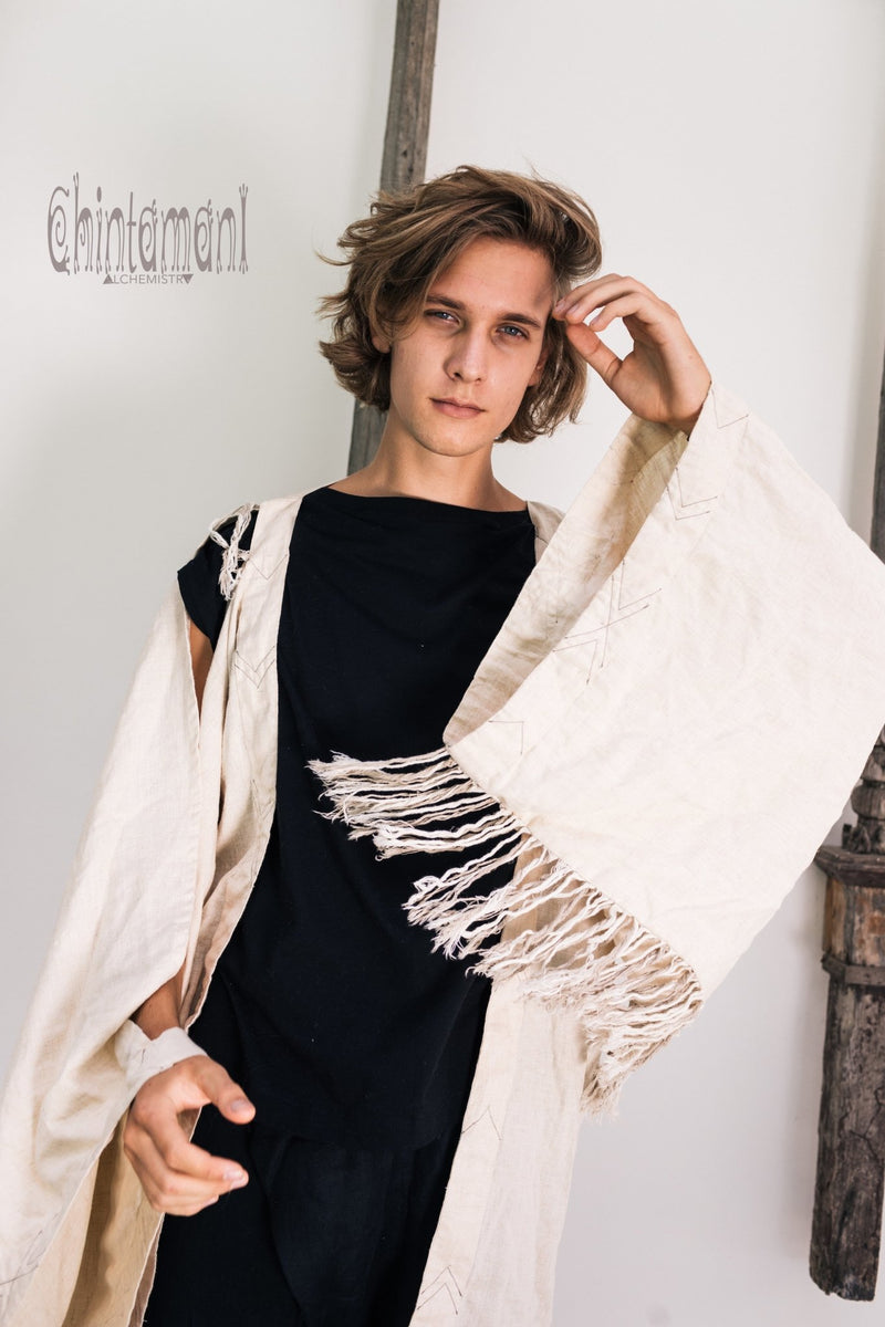 Linen Fringe Kimono Cardigan for Men / Off White Cream - ChintamaniAlchemi