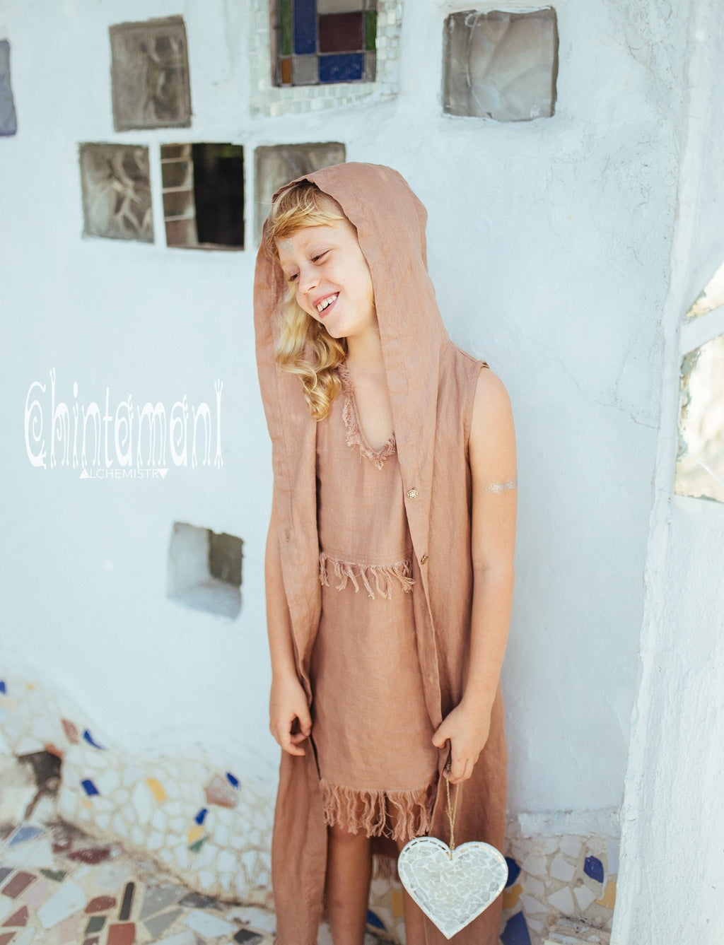 Linen Hood Dress for Girl Age 5-13 / Button Front Fringe Shirt Dress / Dusty Pink - ChintamaniAlchemi