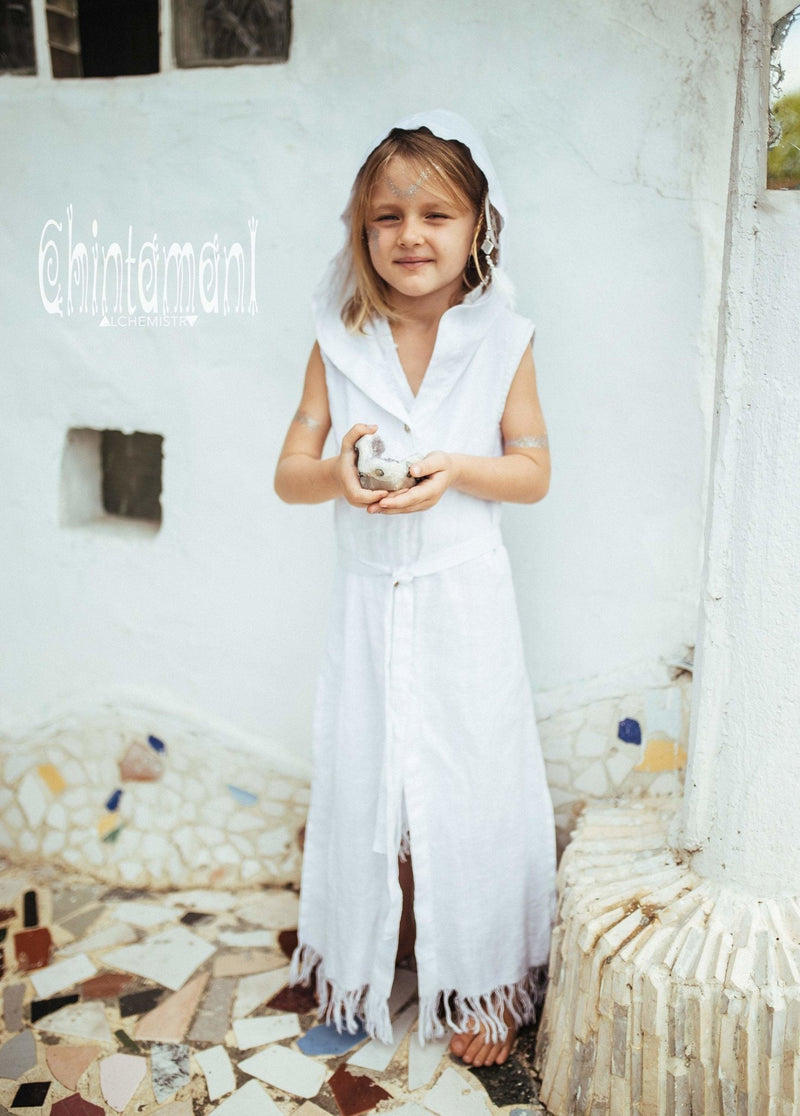 Linen Hood Dress for Girl Age 5-13 / Button Front Fringe Shirt Dress / White - ChintamaniAlchemi