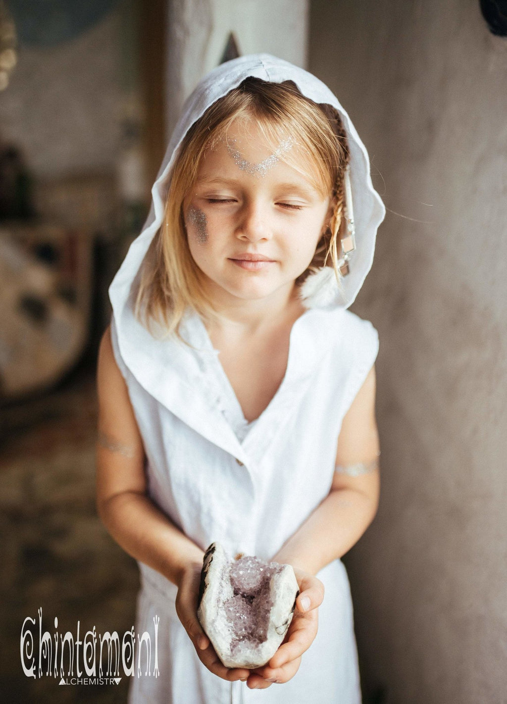 Linen Hooded Dress for Girl Age 5-13 / Button Up ShirtDress - ChintamaniAlchemi