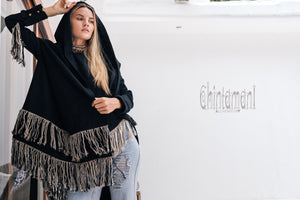 Linen & Silk Fringe Jacket for Women / Hooded Cardigan / Black - ChintamaniAlchemi
