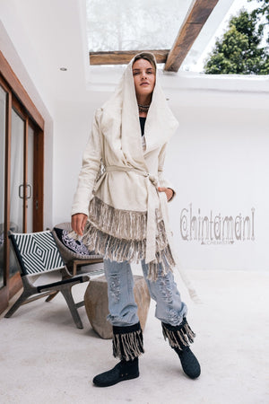 Linen & Silk Fringe Jacket for Women / Hooded Cardigan / Cream - ChintamaniAlchemi