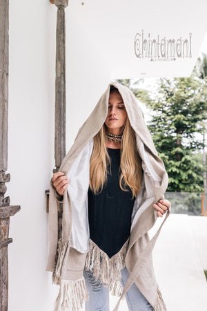 Linen & Silk Fringe Jacket for Women / Hooded Cardigan / Gray - ChintamaniAlchemi