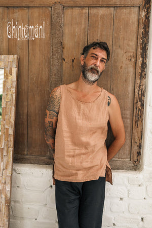 Linen Tank Top for Men / Vegan Boho Top / Dusty Pink - ChintamaniAlchemi