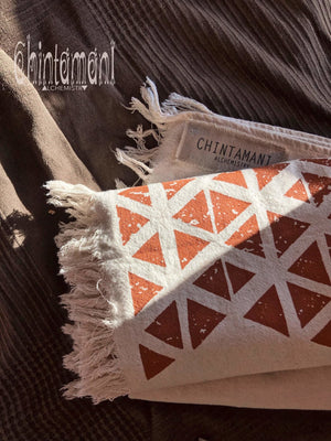 Long Boho Cotton Wrap Shawl / Autumn Scarf for Women / Atua White & Copper - ChintamaniAlchemi