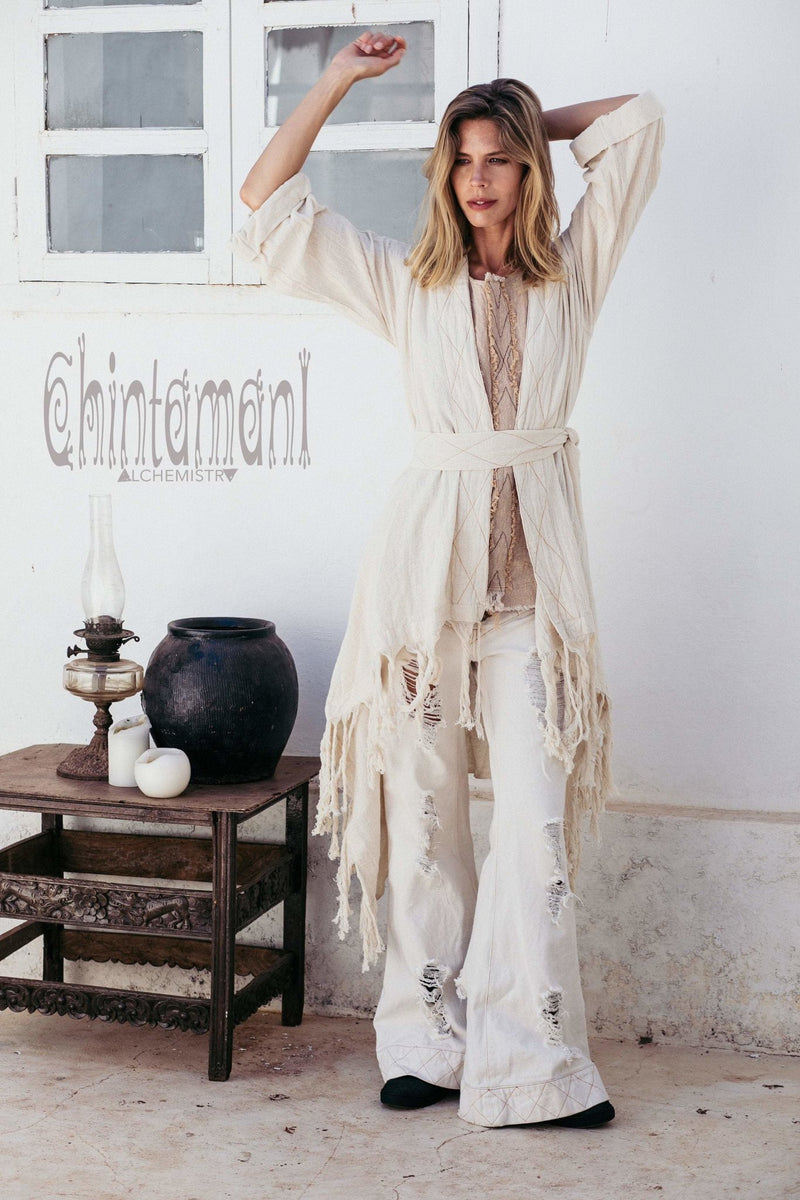 Long Fringe Kimono Wrap Cardigan for Women / Aroha Tino Off White - ChintamaniAlchemi