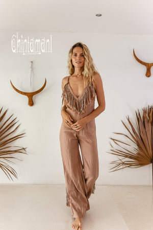 Long Linen Boho Jumpsuit with Fringes for Women / Vneck Overalls / Dusty Pink - ChintamaniAlchemi