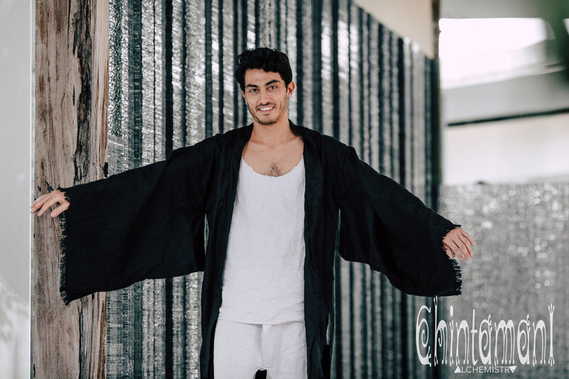 Long Linen Japanese Kimono Robe / Cardigan for Men / Black - ChintamaniAlchemi