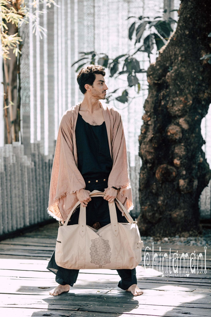 Long Linen Japanese Kimono Robe / Cardigan for Men / Dusty Pink - ChintamaniAlchemi