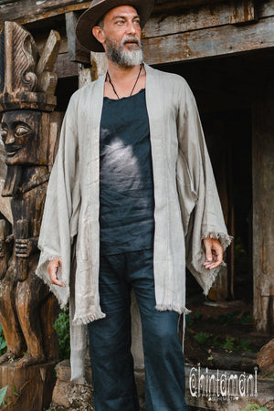 Long Linen Japanese Kimono Robe / Cardigan for Men / Sage Green - ChintamaniAlchemi