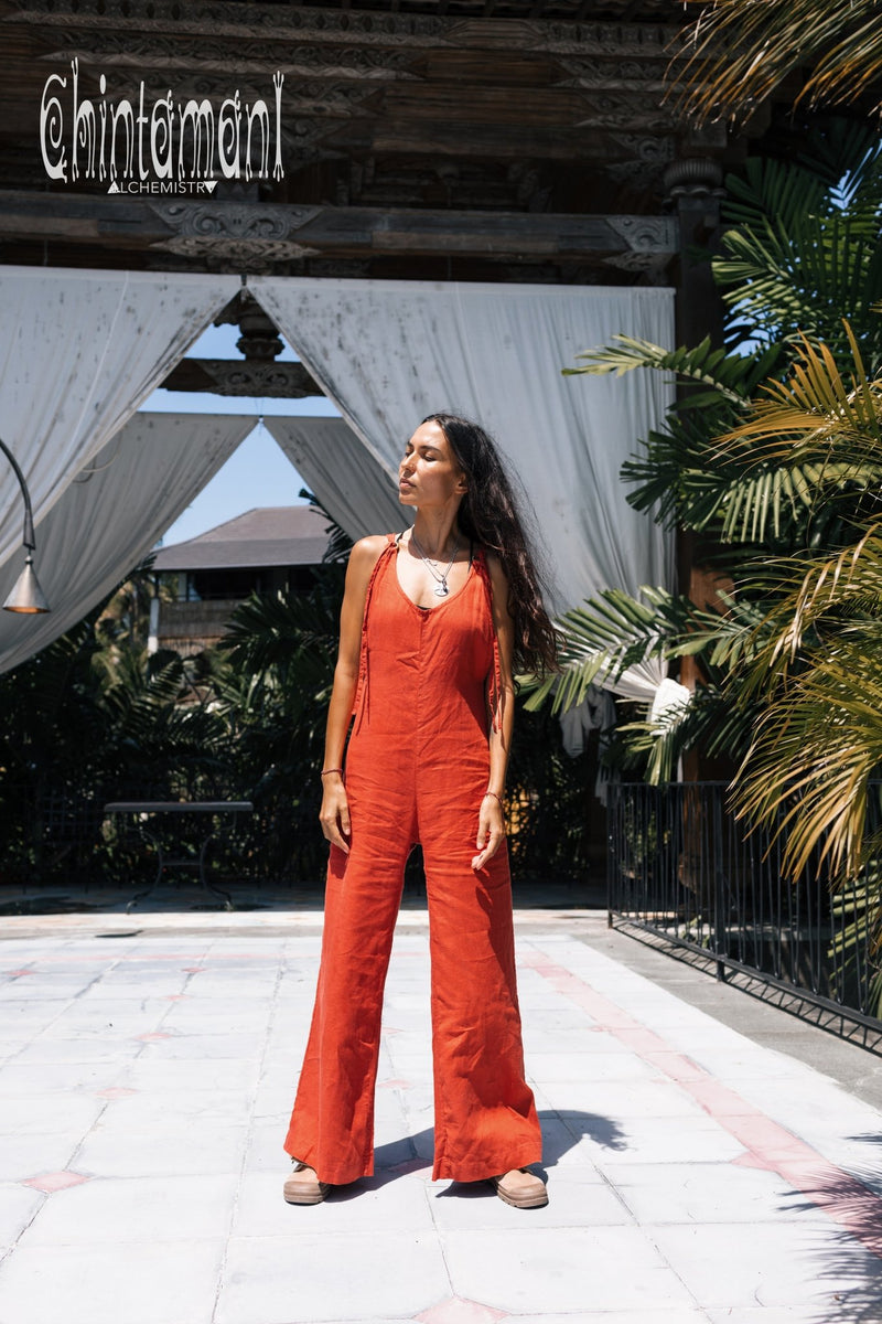 Long Linen Jumpsuit for Women / Maxi Overalls with Back Zip / Red Ochre - ChintamaniAlchemi