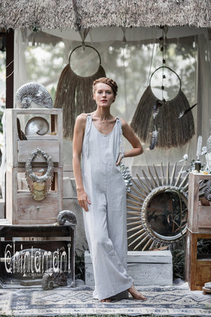 Long Linen Jumpsuit for Women / Overalls with Back Zip / Light Grey - ChintamaniAlchemi